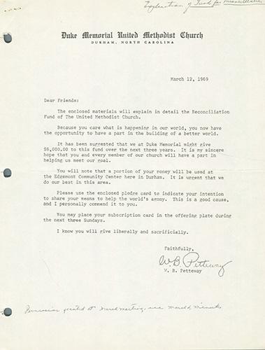 Letter Explaining Reconciliation Fund and Requesting Pledges