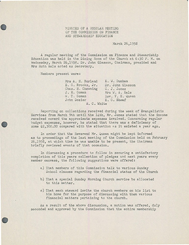 Commission on Finance Minutes for March 26, 1958